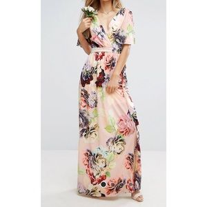 ASOS DESIGN print soft flutter sleeve maxi dress